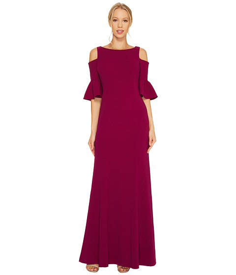 Adrianna Papell Long Sleeve Cold Shoulder Crepe Gown with Flutter Sleeve Detail