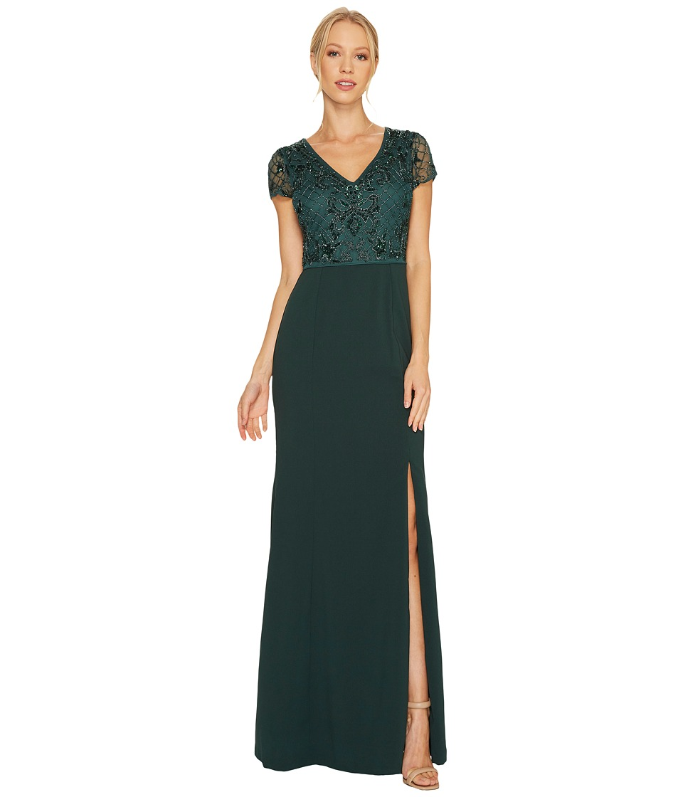 Adrianna Papell - Short Sleeve V-Neck Gown with Jersey Skirt