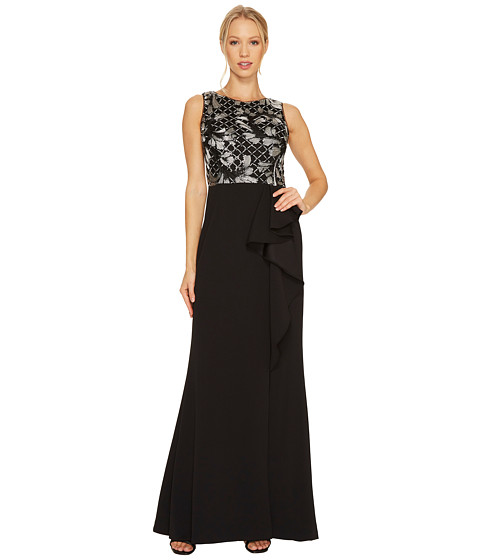 Adrianna Papell Sleeveless Long Crepe Gown with Embroidered Bodice and Cascade Skirt