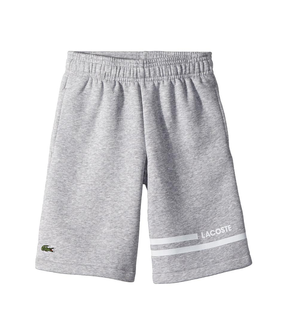 Lacoste Kids - Raised Fleece Sport Stripes Shorts (Toddler/Little Kids/Big Kids) (Silver Chine/White) Boys Shorts