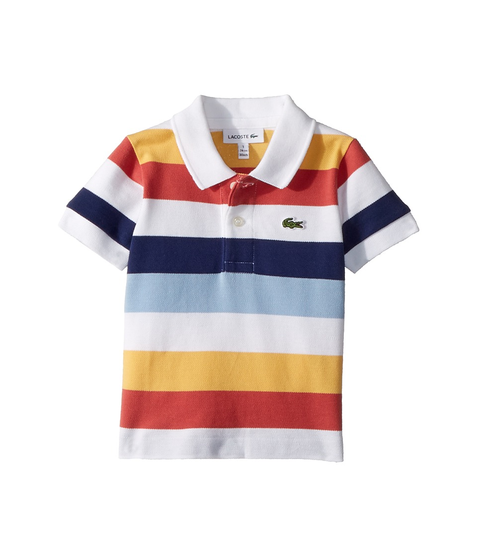 Lacoste Kids - Short Sleeve Multicolor Striped Pique Polo (Infant/Toddler/Little Kids/Big Kids) (White/Dragonfly/Maritime) Boys Clothing
