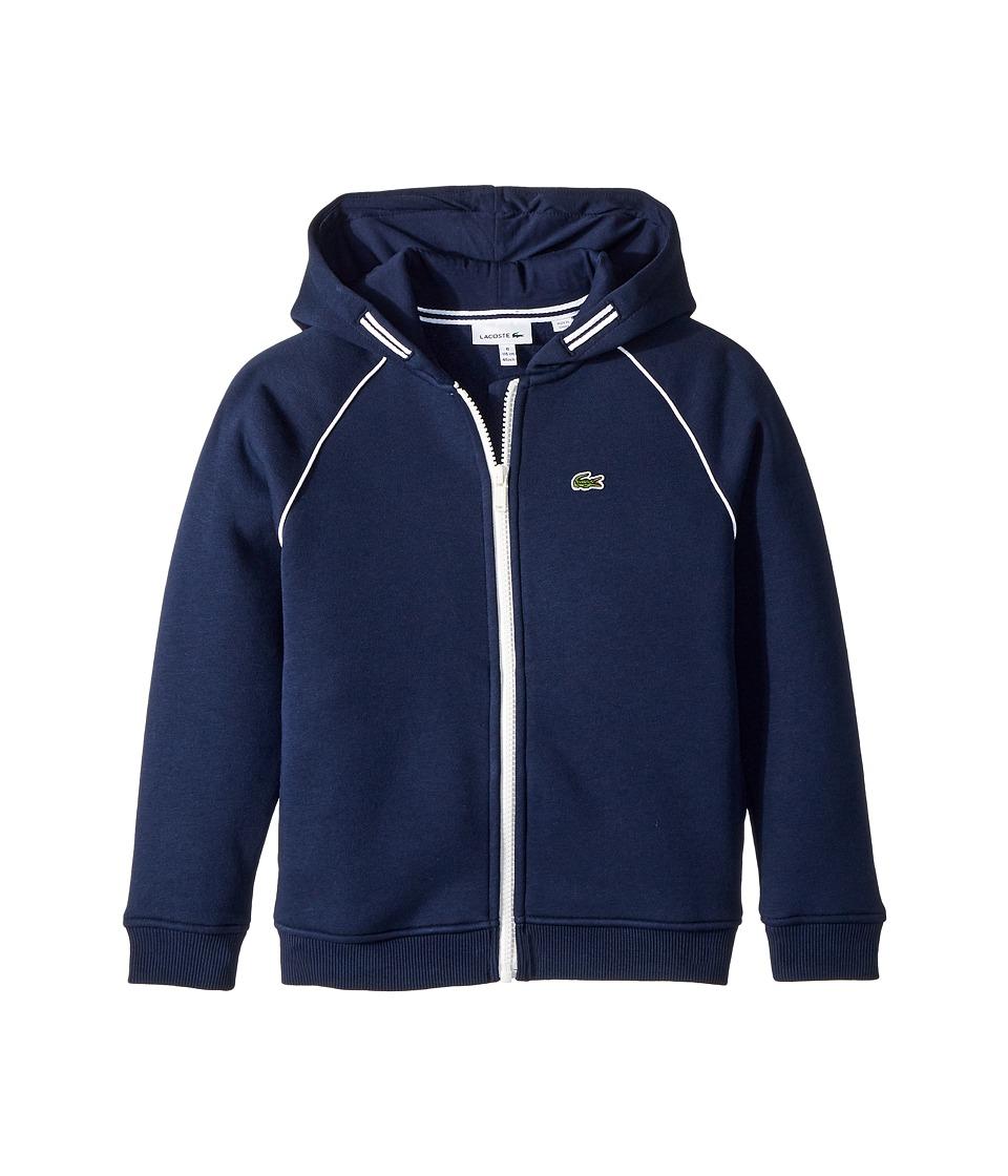 Lacoste Kids - Long Sleeve Fleece Piping Sweatshirt (Toddler/Little Kids/Big Kids) (Navy Blue/White) Boys Sweatshirt