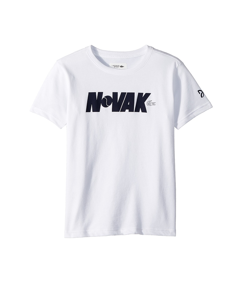 Lacoste Kids - Technical Jersey Novak Fan Writing Print T-Shirt (Little Kids/Big Kids) (White/Navy Blue) Boys Clothing