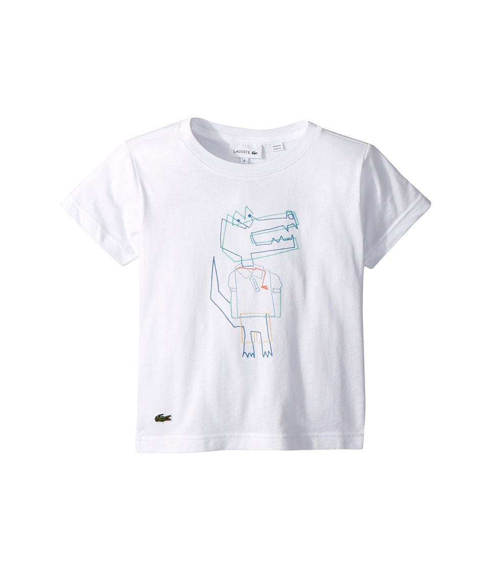 Lacoste Kids - Short Sleeve Jersey Crocoline Print T-Shirt (Toddler/Little Kids/Big Kids) (White/Multicolor) Boys Clothing