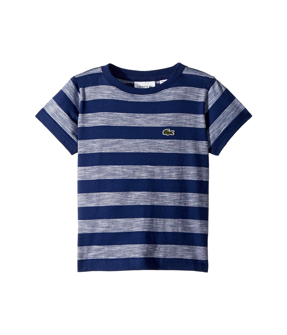 Lacoste Kids - Short Sleeve Striped Jersey T-Shirt (Toddler/Little Kids/Big Kids) (Maritime/White) Boys Clothing