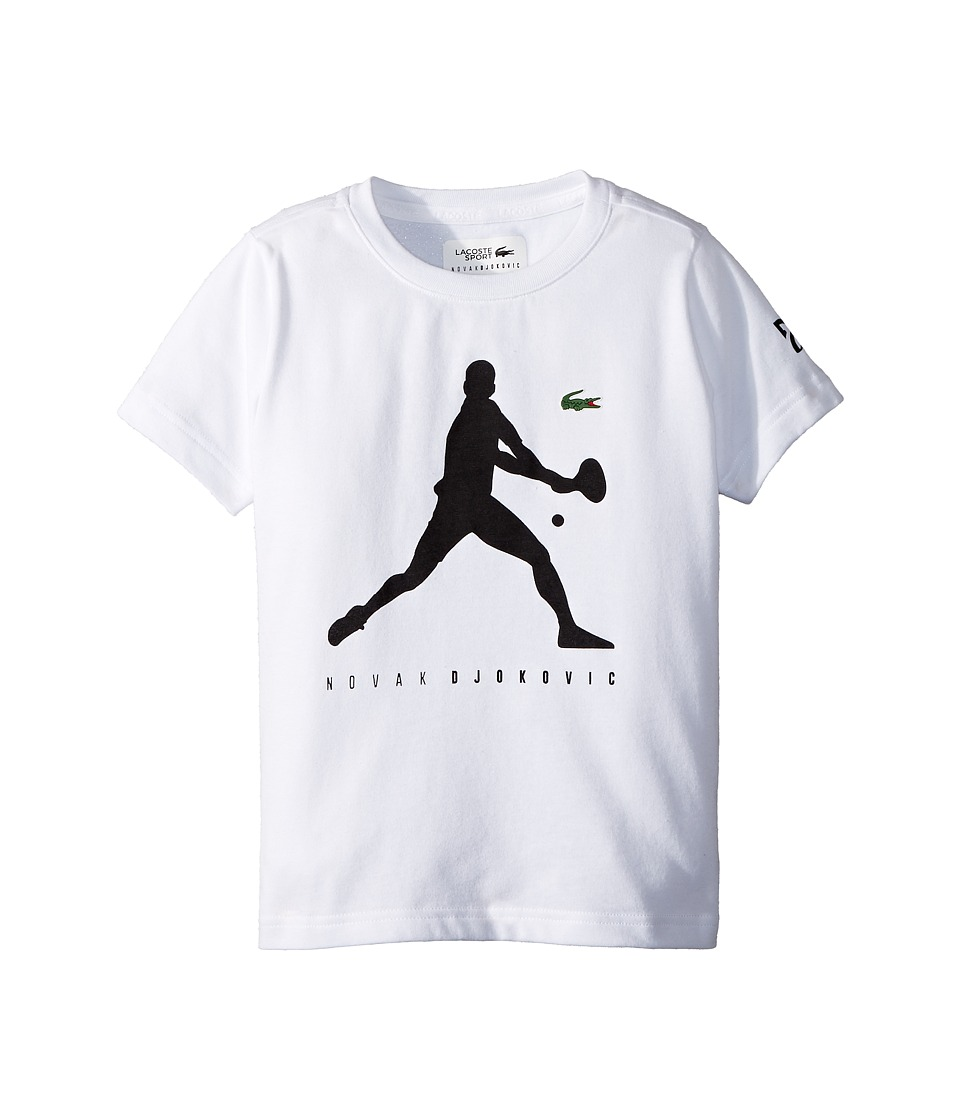 Lacoste Kids - Technical Jersey Novak Fan Capsule Logo T-Shirt (Little Kids/Big Kids) (White/Black) Boys Clothing