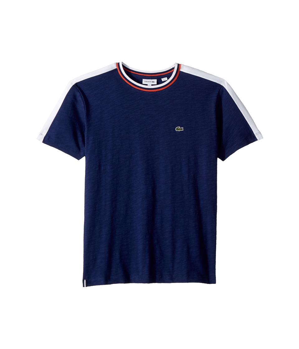 Lacoste Kids - Colorblock Flamme T-shirt (Toddler/Little Kids/Big Kids) (Maritime/White) Boys Clothing