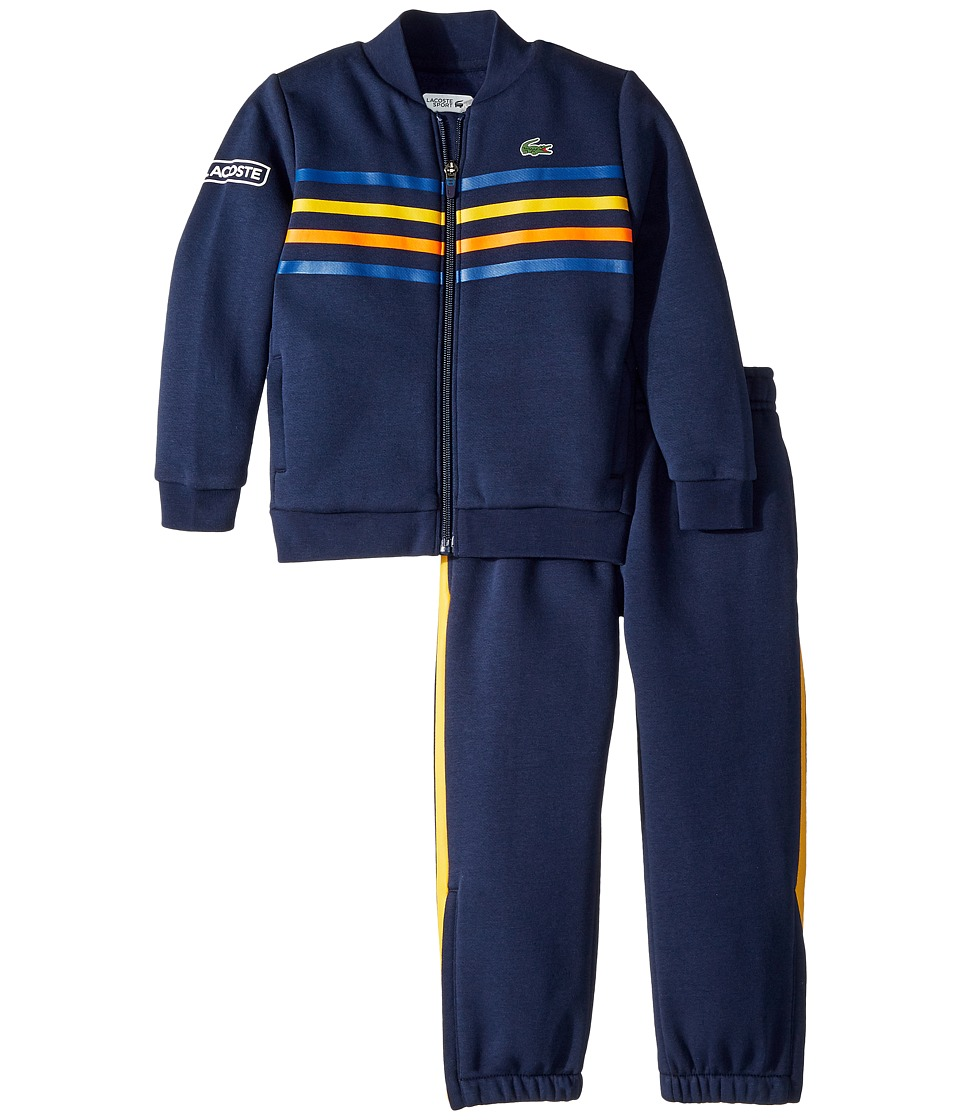 Lacoste Kids - Fleece Player Collection Tracksuit (Little Kids/Big Kids) (Navy Blue/Marino/Buttercup) Boys Suits Sets