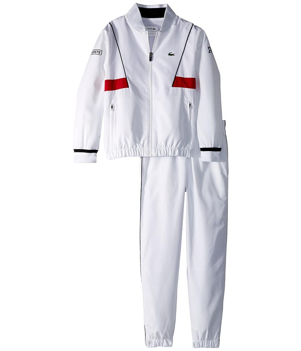 Lacoste Kids - Taffeta Novak Djokovic Tracksuit (Little Kids/Big Kids) (White/Black/Red) Boys Suits Sets
