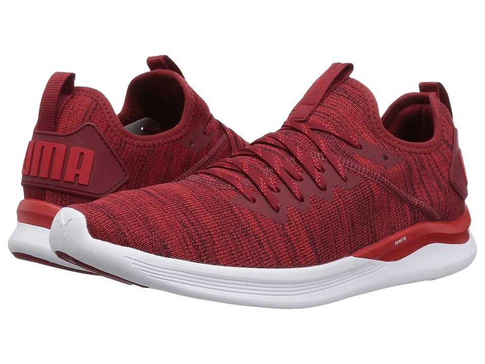 PUMA Ignite Flash evoKNIT (Red Dahlia/High Risk Red/Puma White) Men's Shoes