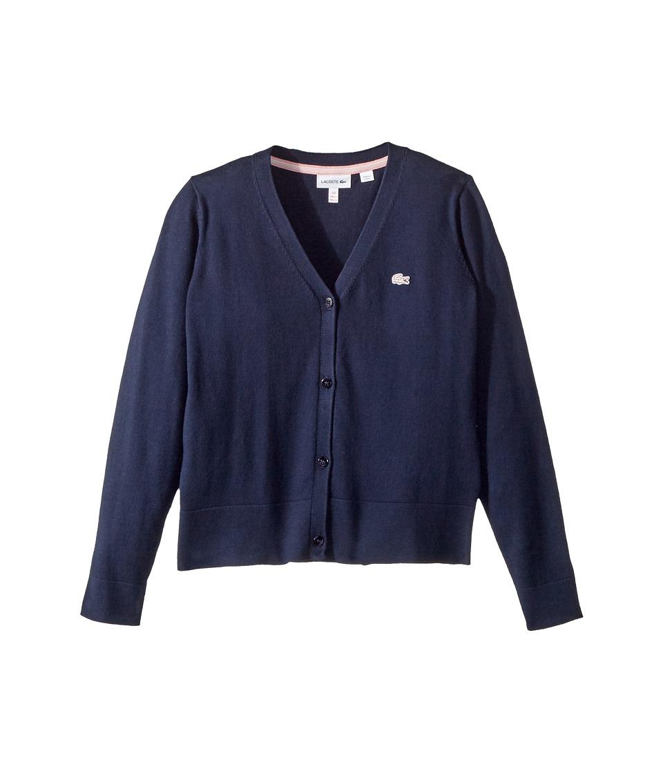 Lacoste Kids - Jersey Cardigan (Toddler/Little Kids/Big Kids) (Navy Blue) Girls Sweater