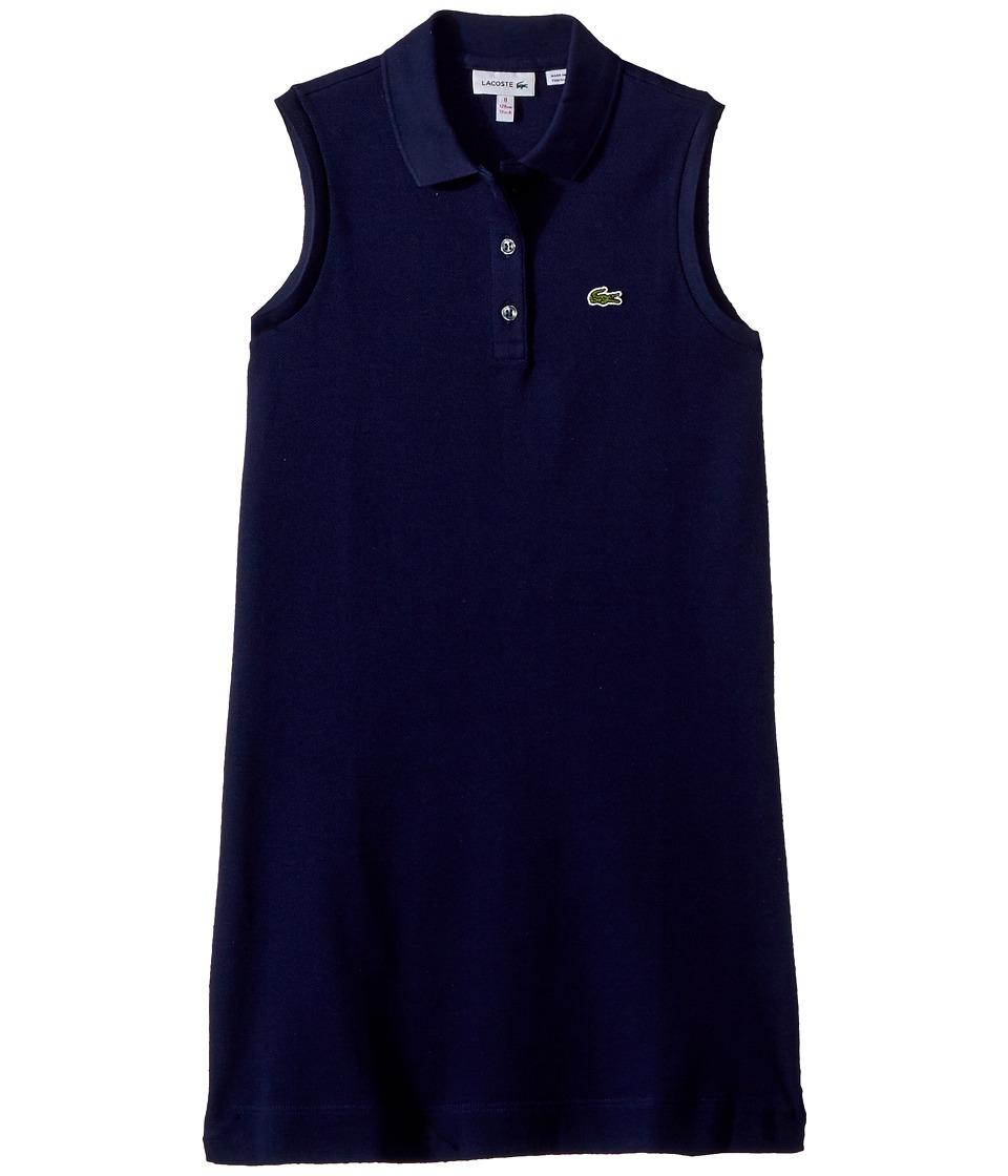 Lacoste Kids - Sleeveless Petit Pique Dress (Toddler/Little Kids/Big Kids) (Navy Blue) Girls Dress
