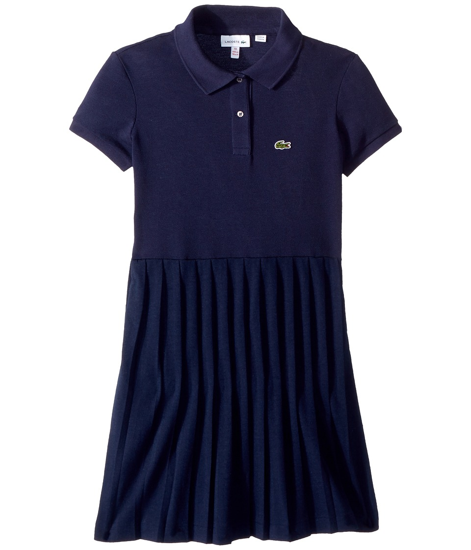 Lacoste Kids - Short Sleeve Petit Pique Pleated Dress (Toddler/Little Kids/Big Kids) (Navy Blue) Girls Dress