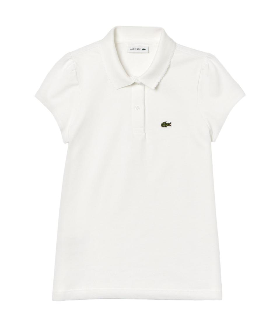 Lacoste Kids - Short Sleeve Mini Pique New Iconic Polo (Infant/Toddler/Little Kids/Big Kids) (White) Girls Clothing