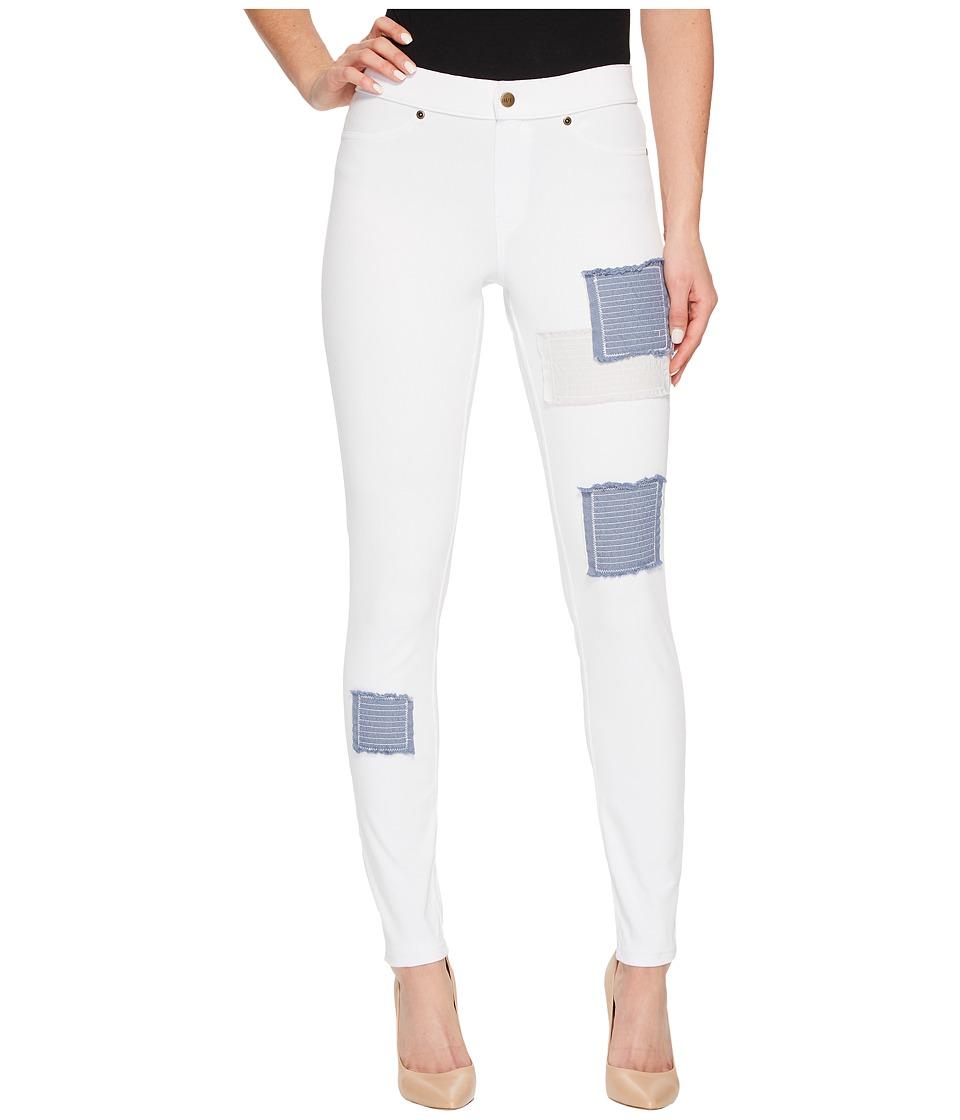 HUE Patched Denim Leggings (White) Women