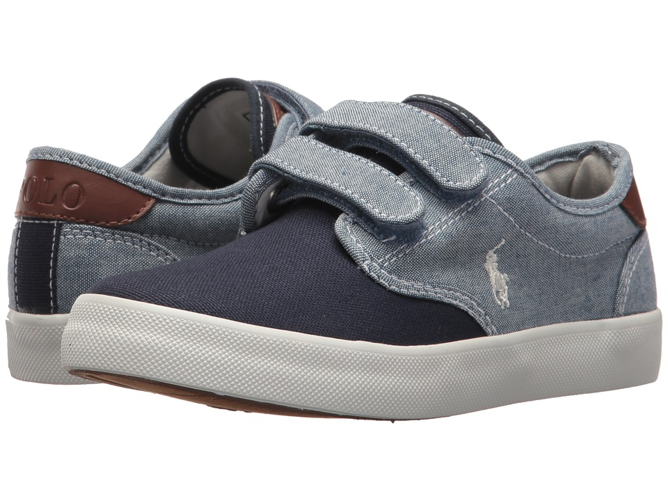 Polo Ralph Lauren Kids - Luwes EZ (Little Kid) (Blue Chambray/Navy Canvas/White Pony Player) Boys Shoes