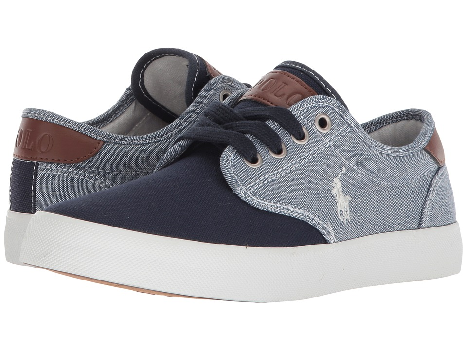 Polo Ralph Lauren Kids - Luwes (Big Kid) (Blue Chambray/Navy Canvas/White Pony Player) Boys Shoes