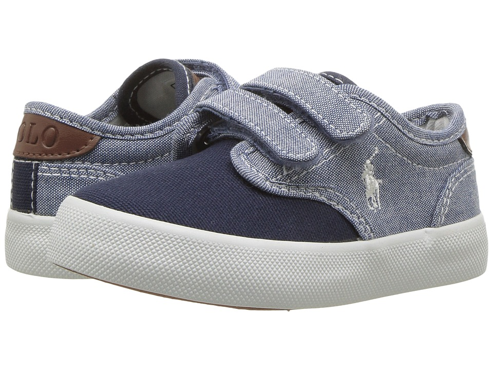 Polo Ralph Lauren Kids - Luwes EZ (Toddler) (Blue Chambray/Navy Canvas/White Pony Player) Boys Shoes