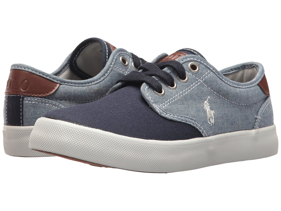 Polo Ralph Lauren Kids - Luwes (Little Kid) (Blue Chambray/Navy Canvas/White Pony Player) Boys Shoes