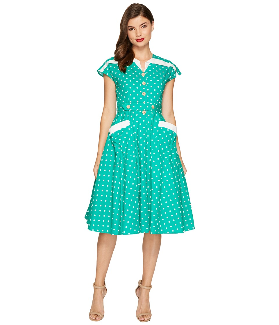 Unique Vintage Cap Sleeve Hedda Swing Dress (Green/Ivory Dot) Women