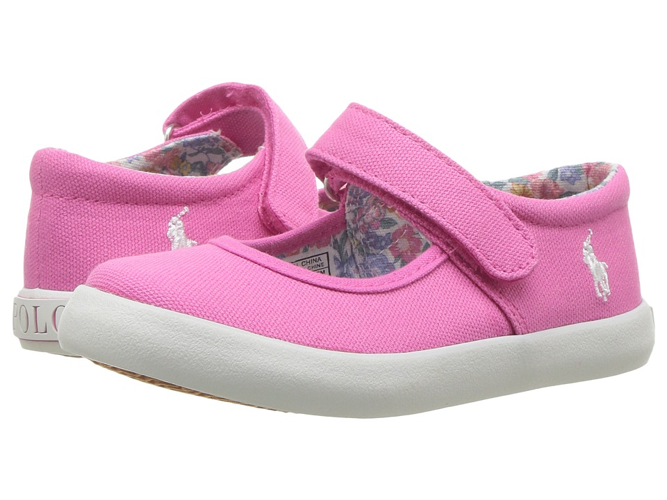 Polo Ralph Lauren Kids Pippa (Toddler) (Baja Pink Canvas/White Pony Player) Girl's Shoes