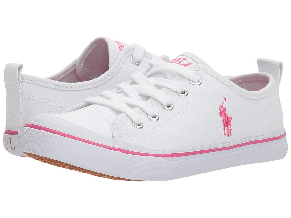 Polo Ralph Lauren Kids - Karlen (Little Kid) (White Canvas/Baja Pink Pony Player) Kids Shoes