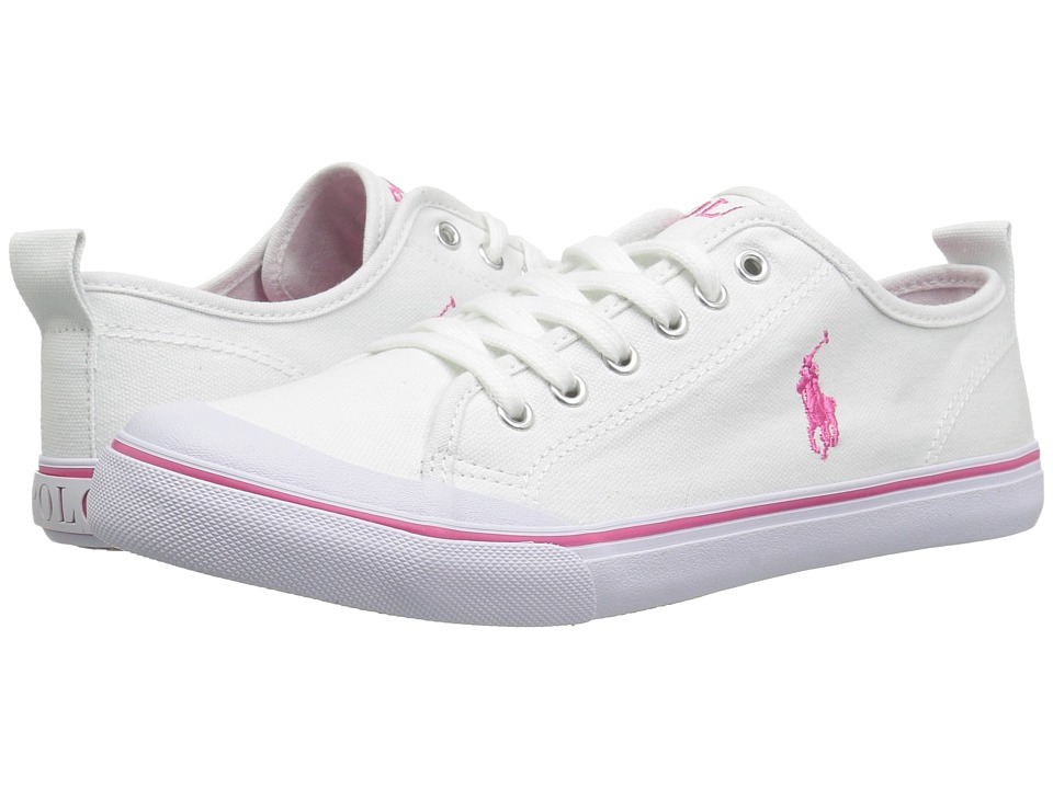 Polo Ralph Lauren Kids - Karlen (Big Kid) (White Canvas/Baja Pink Pony Player) Kids Shoes