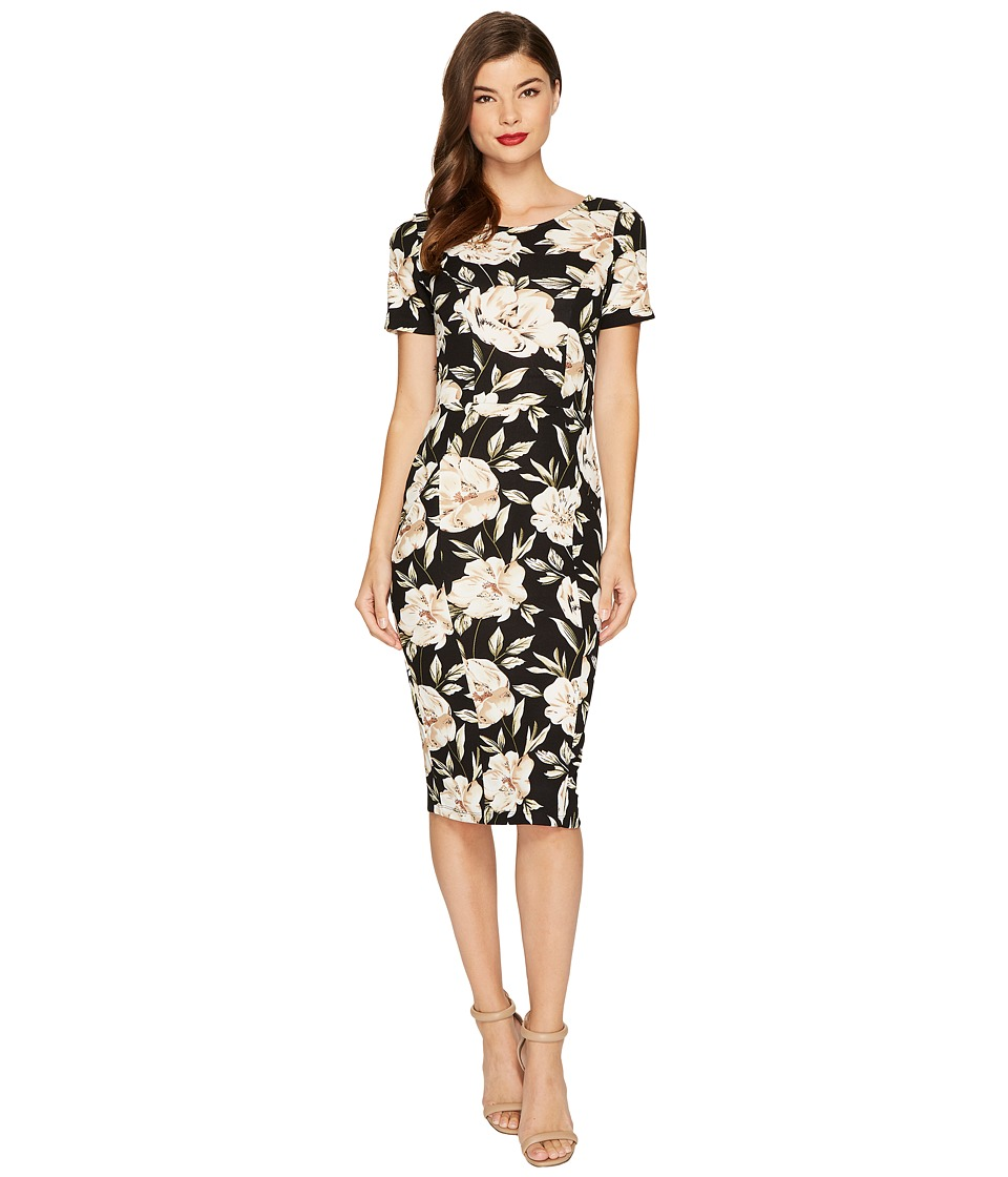 Unique Vintage Mod Wiggle Dress (Black/Ivory Floral) Women
