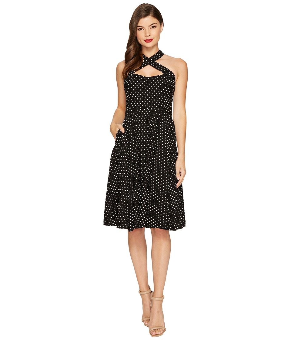 Unique Vintage Rita Flare Dress (Black/White Dot) Women