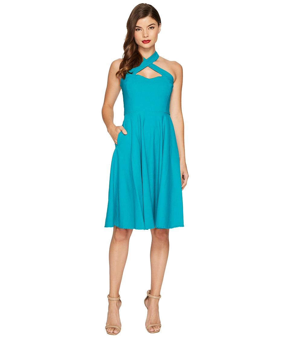 Unique Vintage Rita Flare Dress (Teal) Women