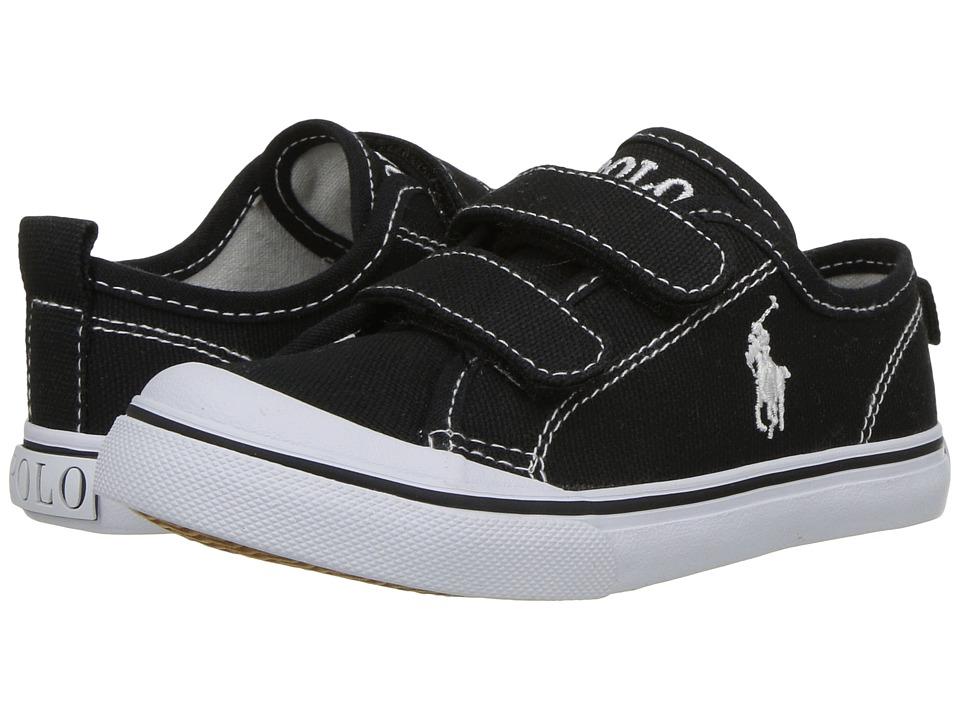 Polo Ralph Lauren Kids Karlen EZ (Toddler) (Black Canvas/White Pony Player)  Kid\u0027s Shoes