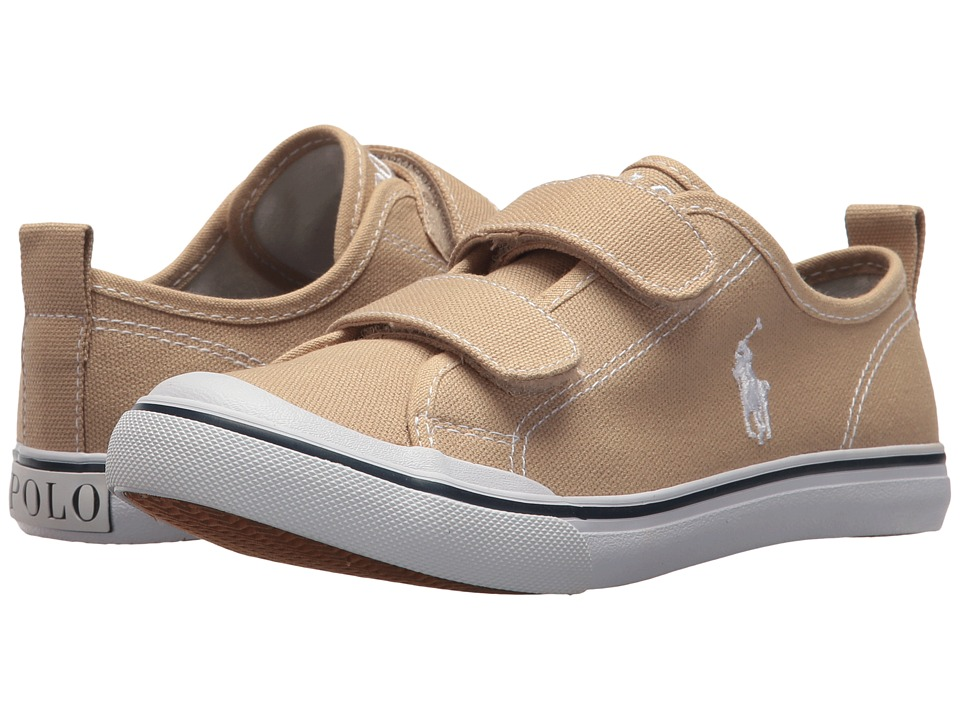 Polo Ralph Lauren Kids - Karlen EZ (Little Kid) (Khaki Canvas/White Pony Player) Kids Shoes