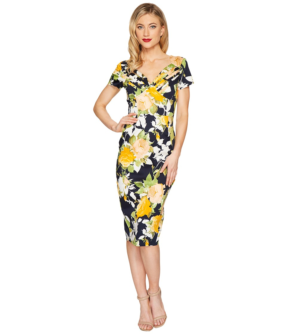 Unique Vintage St. Pierre Wiggle Dress (Navy/Yellow Floral) Women