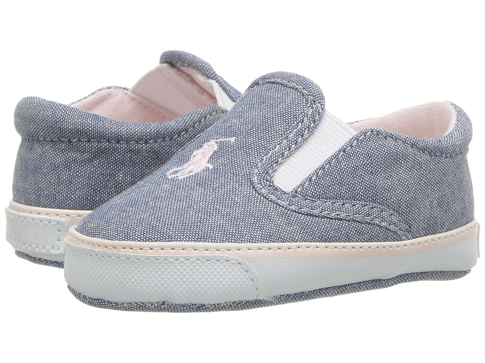 Polo Ralph Lauren Kids Bal Harbour II (Infant/Toddler) (Light Blue  Chambray/Light Pink Pony Player) Girl\u0027s Shoes