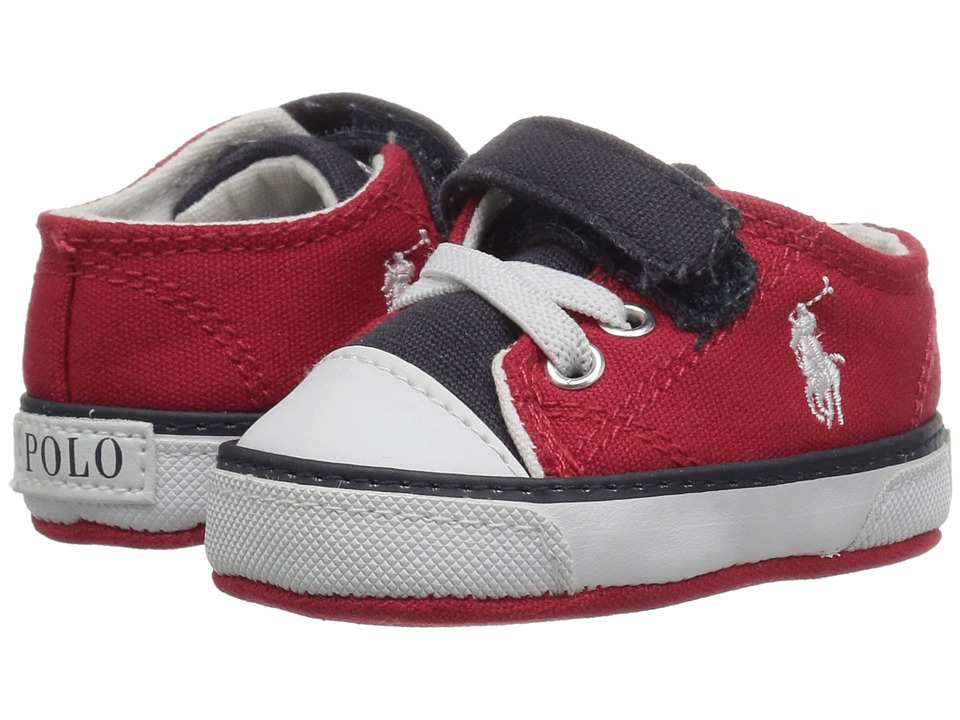Polo Ralph Lauren Kids Koni (Infant/Toddler) (Red/Navy Canvas Color Block/White  Pony Player) Boy\u0027s Shoes