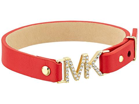 Michael Kors Iconic Pave Covered MK Logo Bracelet - Gold/Red