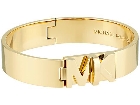 Michael Kors Iconic Hinged MK Logo Bangle Bracelet - Gold