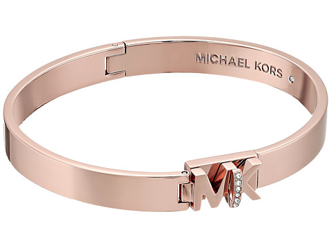 Michael Kors Iconic Hinged MK Logo Bangle Bracelet with Hint of Glitz - Rose Gold