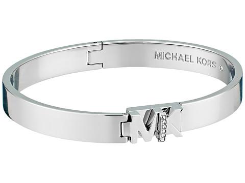 Michael Kors Iconic Hinged MK Logo Bangle Bracelet with Hint of Glitz - Silver/Steel