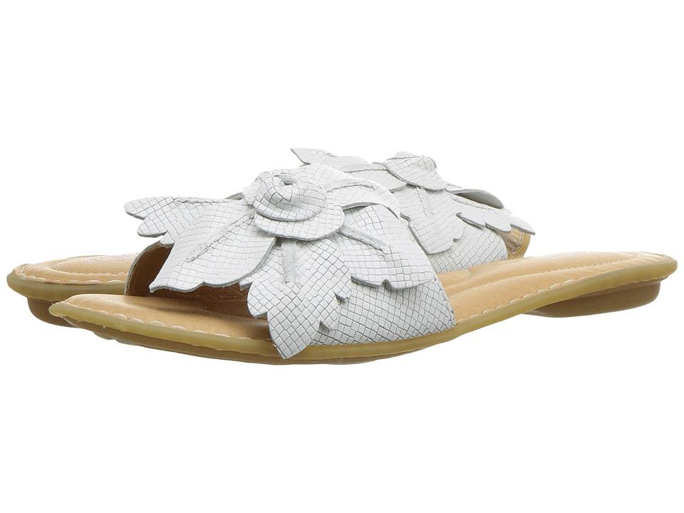 Born - Mai Floral (White Embossed Full Grain Leather) Womens Sandals