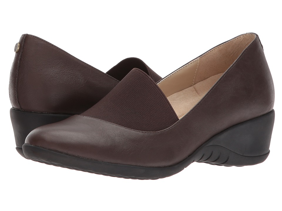 Hush Puppies Odell Elastic Pump (Dark Brown Leather) Wedges