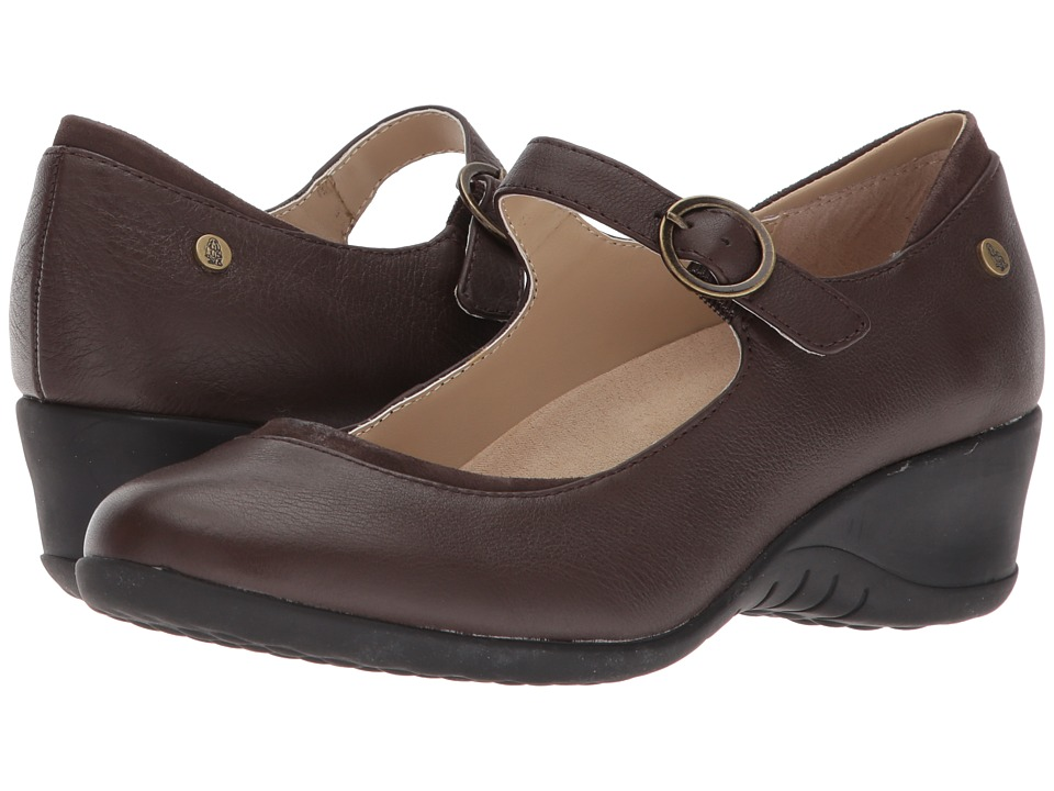 Hush Puppies Odell Mary Jane (Dark Brown Leather) Wedges