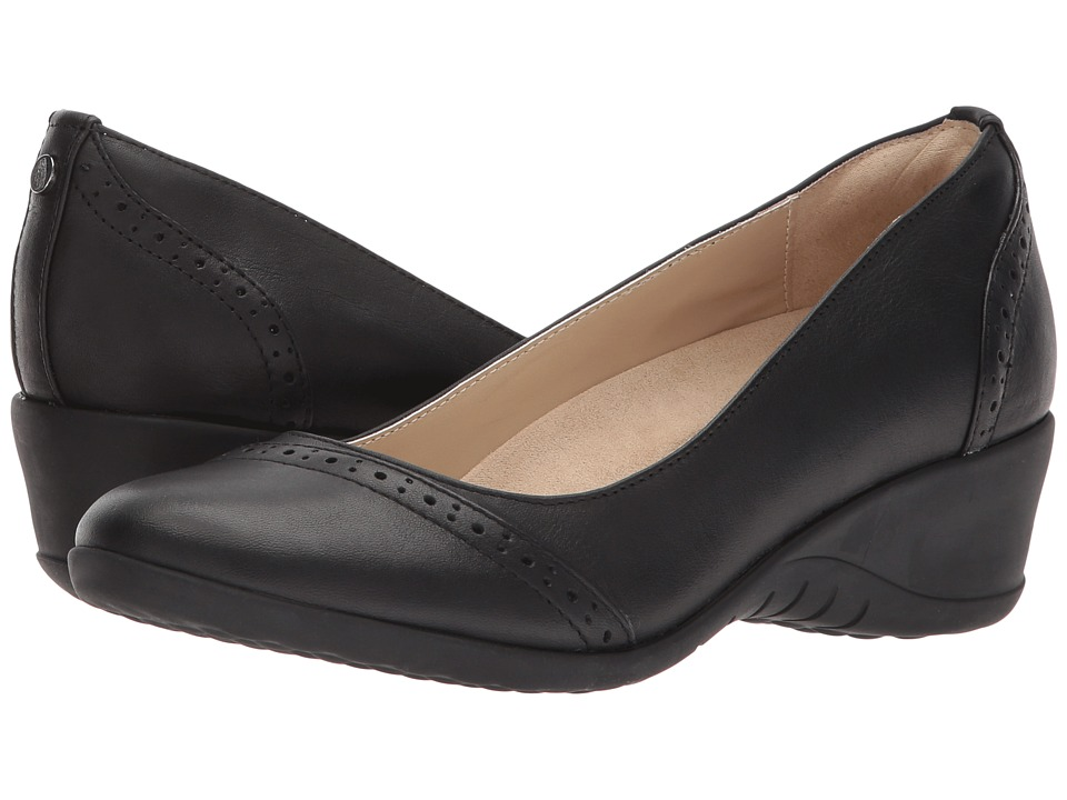 Hush Puppies Odell Slip-On (Black Leather) Wedges