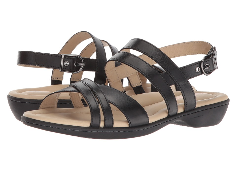 Hush Puppies Dachshund Strappy (Black Leather) Sandals