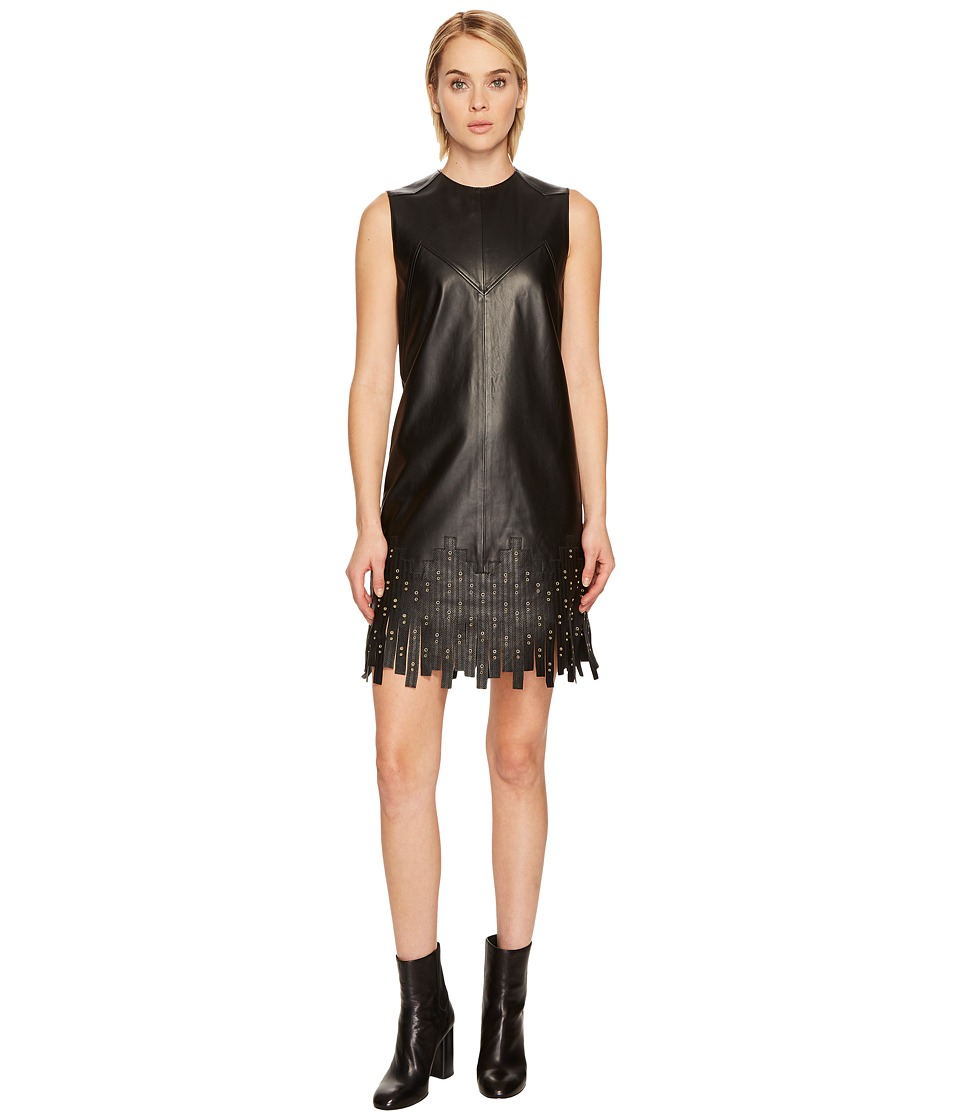Versace Collection Leather w/ Fringe Dress (Black) Women
