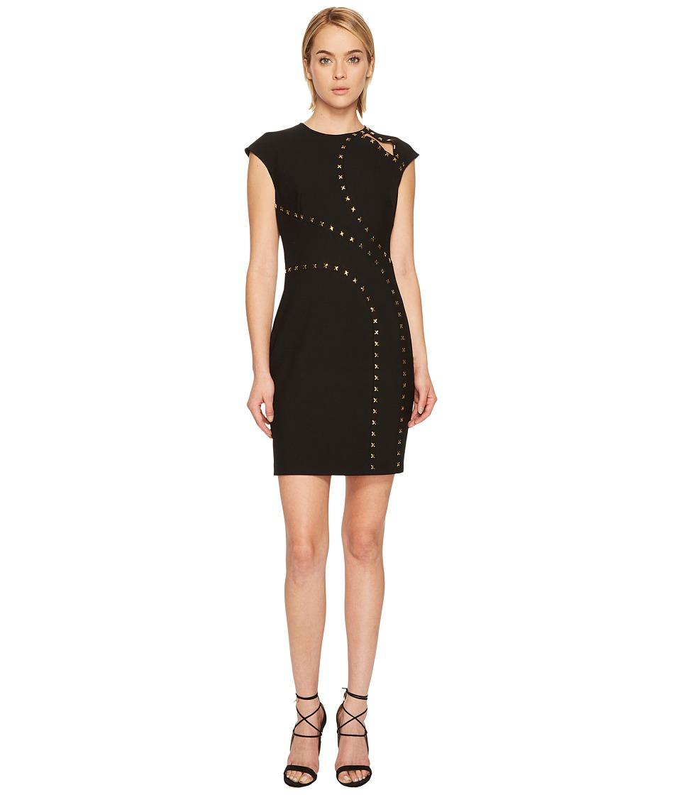Versace Collection Studded Cap Sleeve Slit Dress (Black) Women
