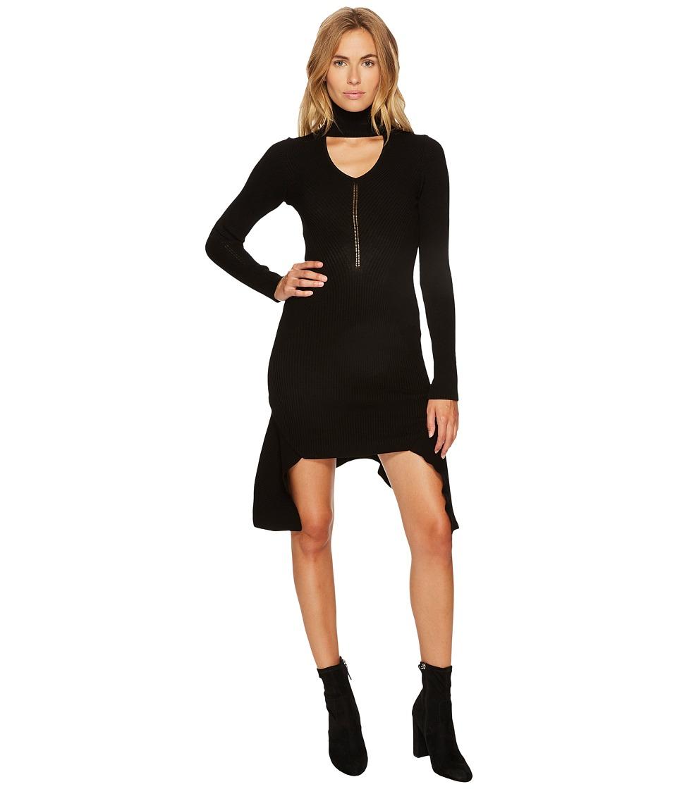 Versace Collection Cut Out Mock Neck Long Sleeve Dress (Black) Women