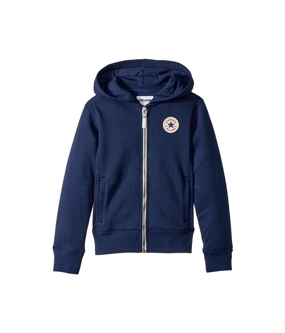 Converse Kids - Rib Panel Zip Hoodie (Big Kids) (Midnight Navy) Girls Sweatshirt