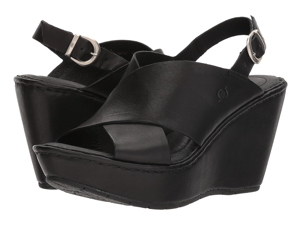Born Emmy II (Black Full Grain Leather) Wedges