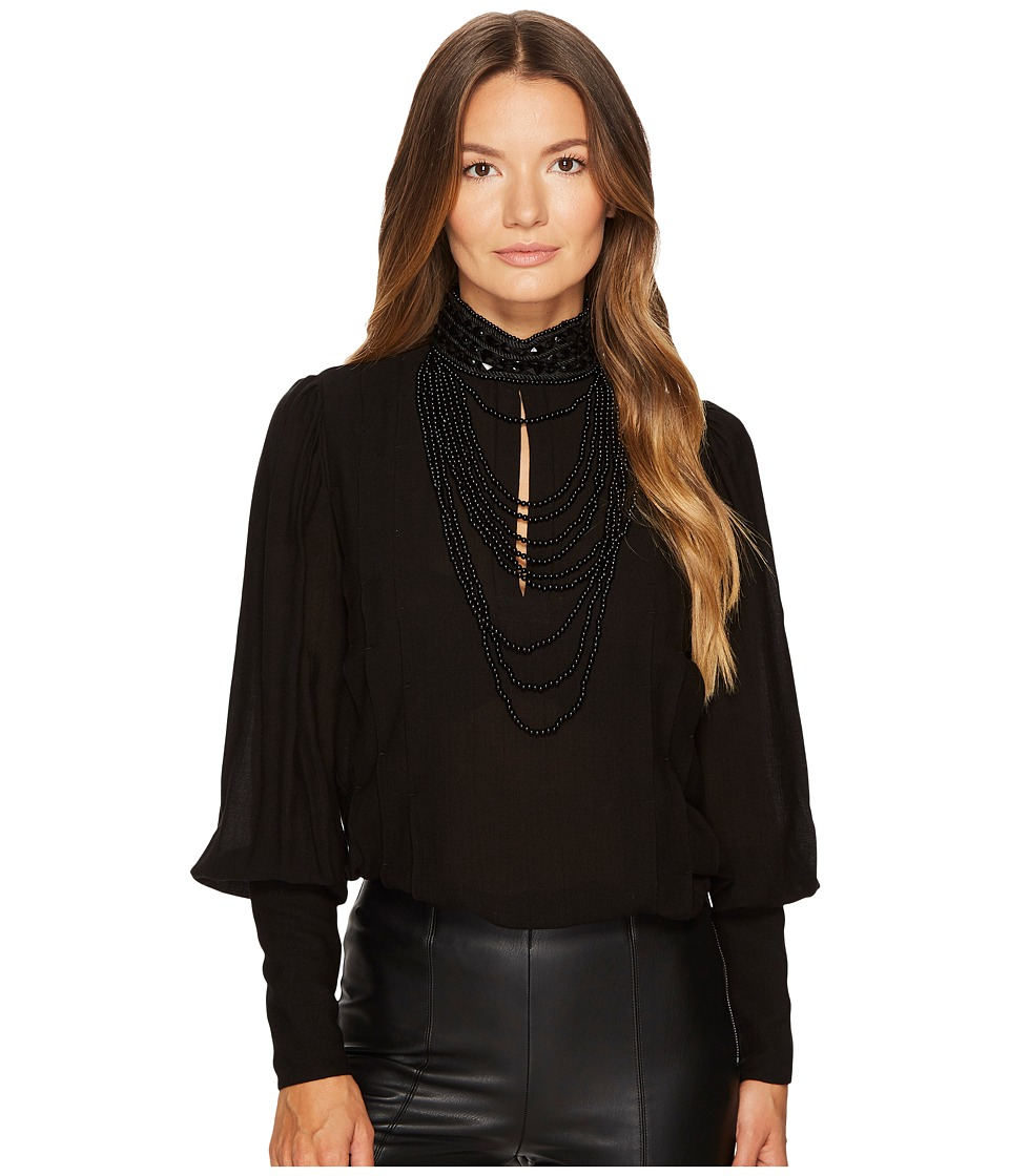 Pierre Balmain - Jeweled High-Neck Blouse (Black) Womens Blouse